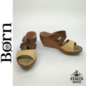 Born Miko Brown Leather Wedge Sandals W62240 Sz 8